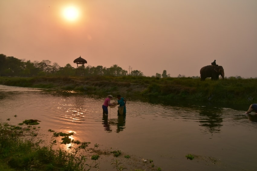 Traditionelles Fischen mit den Tharu