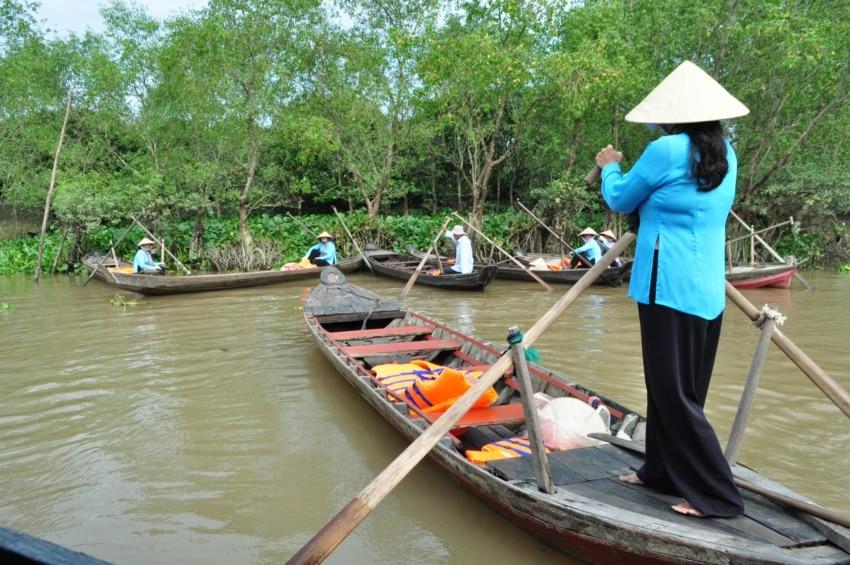 Sampans auf dem Mekong