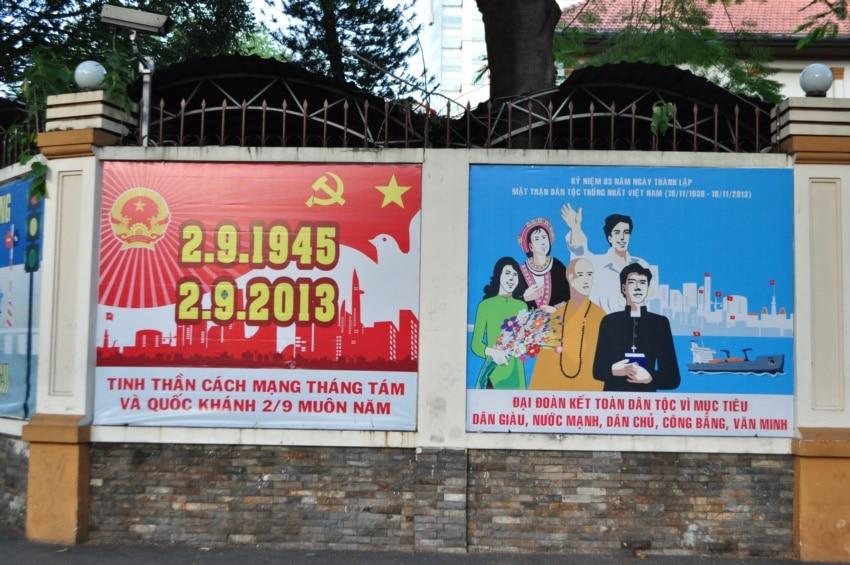 Kommunistische Plakate in Saigon